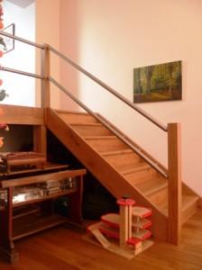 Escalier chêne+Inox